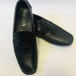 PRADA Driving Loafers Black Leather Square Toe 38